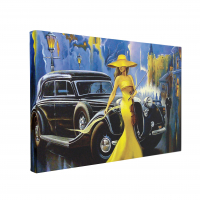 Tablou Canvas Car and Girl Old City 50 x 70 cm, 100% Poliester