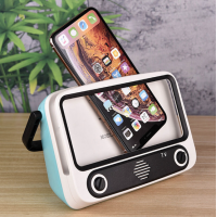 Suport telefon in forma de TV retro cu boxa, bluetooth, radio, card microSD