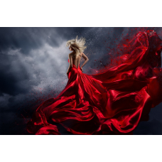 Tablou Canvas, Lady in red, Matase, Rosu, 90 x 60 cm, Rama lemn, Multicolor