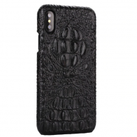 Husa telefon Piele Naturala Crocodil African, Iphone XS Luxury Black Italy Design